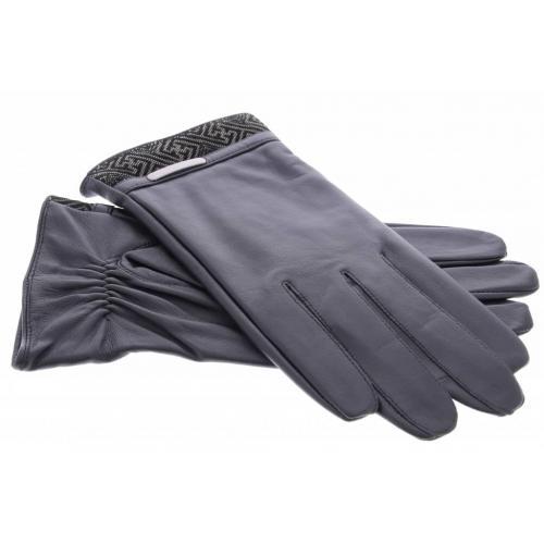 Zwarte echt lederen touchscreen handschoenen met stoffen afwerking - maat XXL