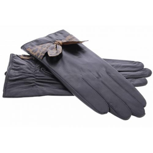 Zwarte echt lederen touchscreen handschoenen met strik met luipaardprint - Maat L
