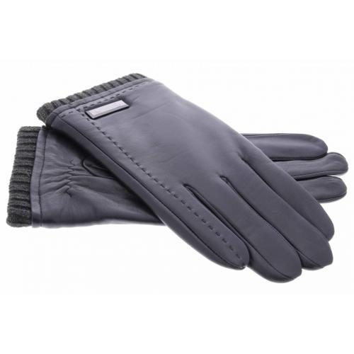 Zwarte echt lederen touchscreen handschoenen met zilverkleurig detail - Maat XL