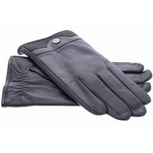 Zwarte lederen touchscreen handschoenen met stoffen afwerking en knoop - Maat XXL